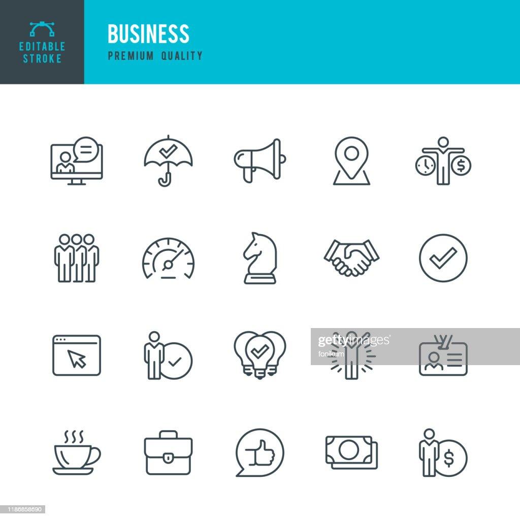 Business - Dünnlinien-Vektor-Symbol-Set. Bearbeitbarer Strich. Pixel perfekt. Set enthält Symbole wie Team, Strategie, Erfolg, Leistung, Website, Handshake. : Stock-Illustration