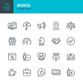 Business - thin line vector icon set. Editable stroke. Pixel Perfect. Set contains such icons as Team, Strategy, Success, Performance, Website, Handshake.