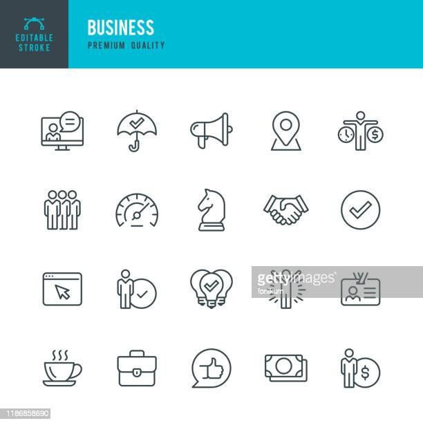 business - thin line vector icon set. editable stroke. pixel perfect. set contains such icons as team, strategy, success, performance, website, handshake. - partnership teamwork stock illustrations