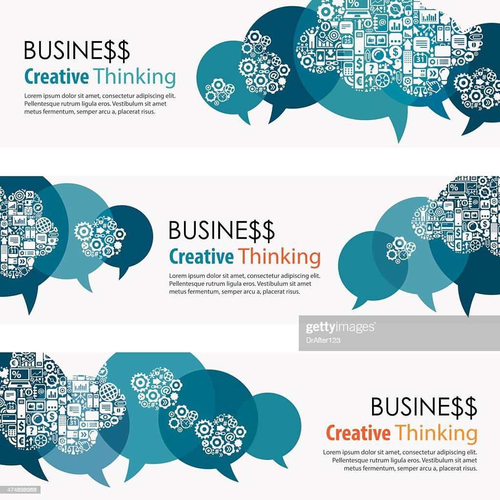 Business Thinking Banners And Icon Set