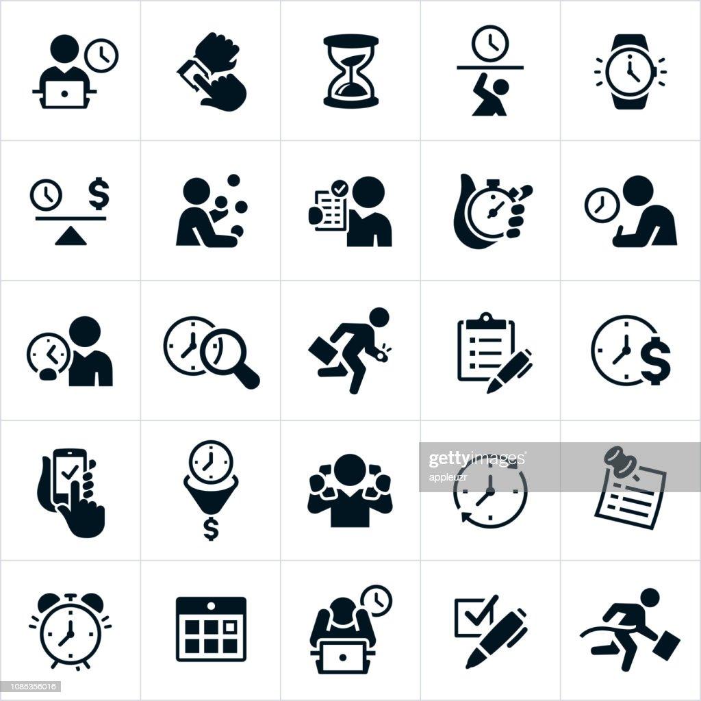 Ícones de gestão de tempo de negócios : Ilustração