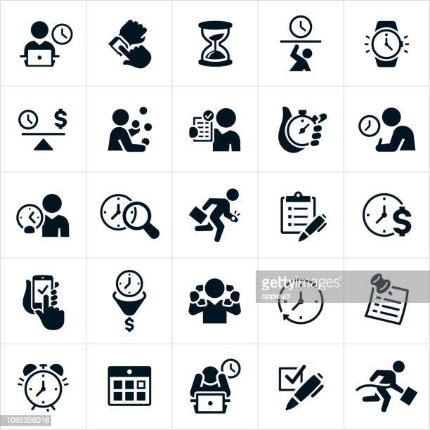 business time management icons - overworked stock illustrations
