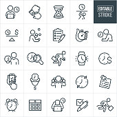 Business Time Management Thin Line Icons - Editable Stroke