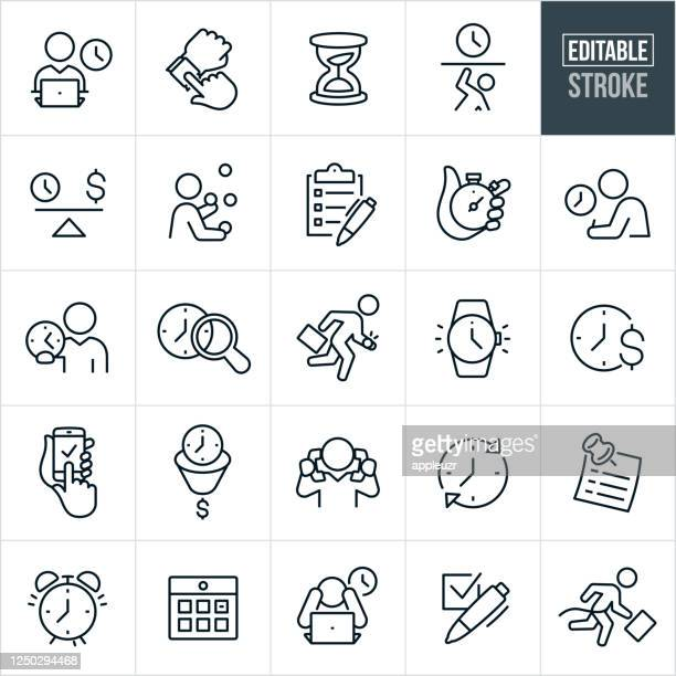 business time management thin line icons - editable stroke - overworked stock illustrations