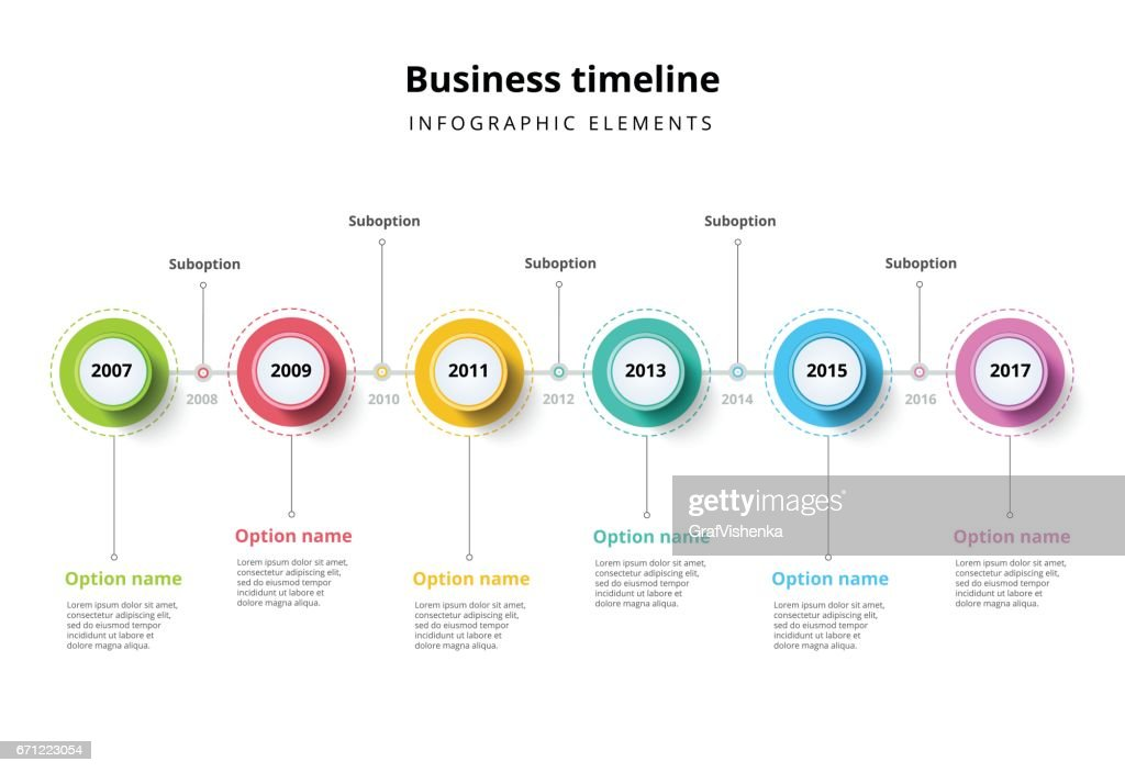 Business timeline in step circles infographics.