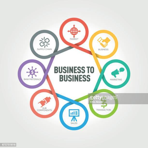 Business to Business infographic with 8 steps, parts, options