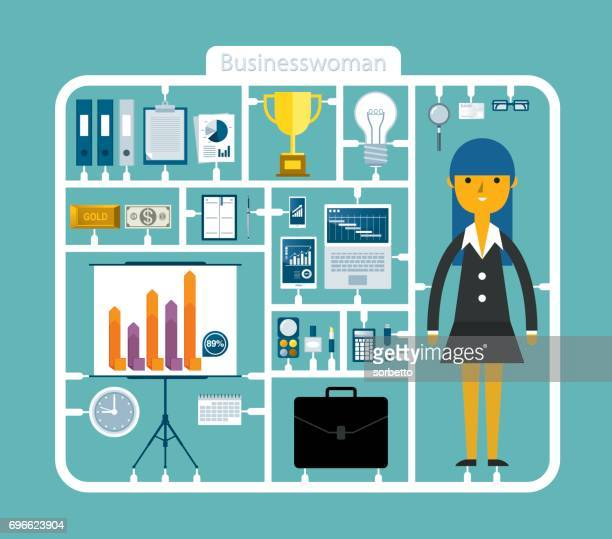 business tool kits with businesswoman - model kit stock illustrations
