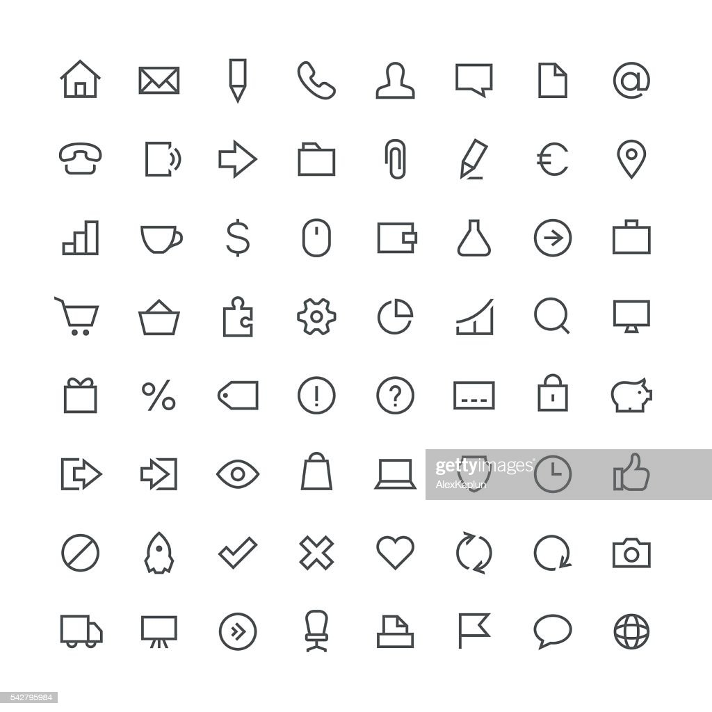 Business total outline icon set 64
