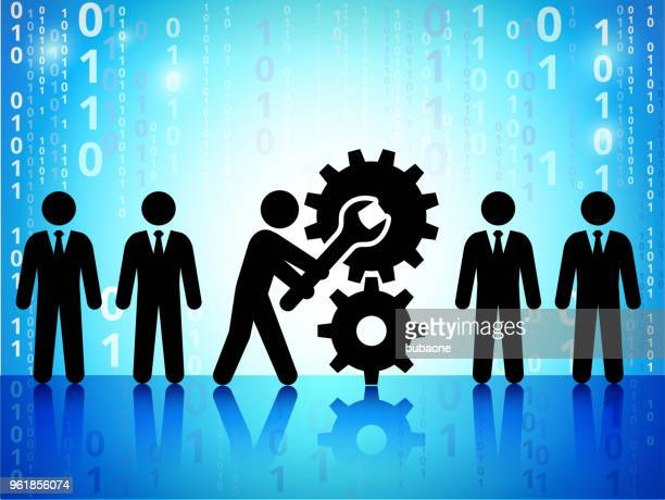 Business Transformation on Binary Code Blue Background