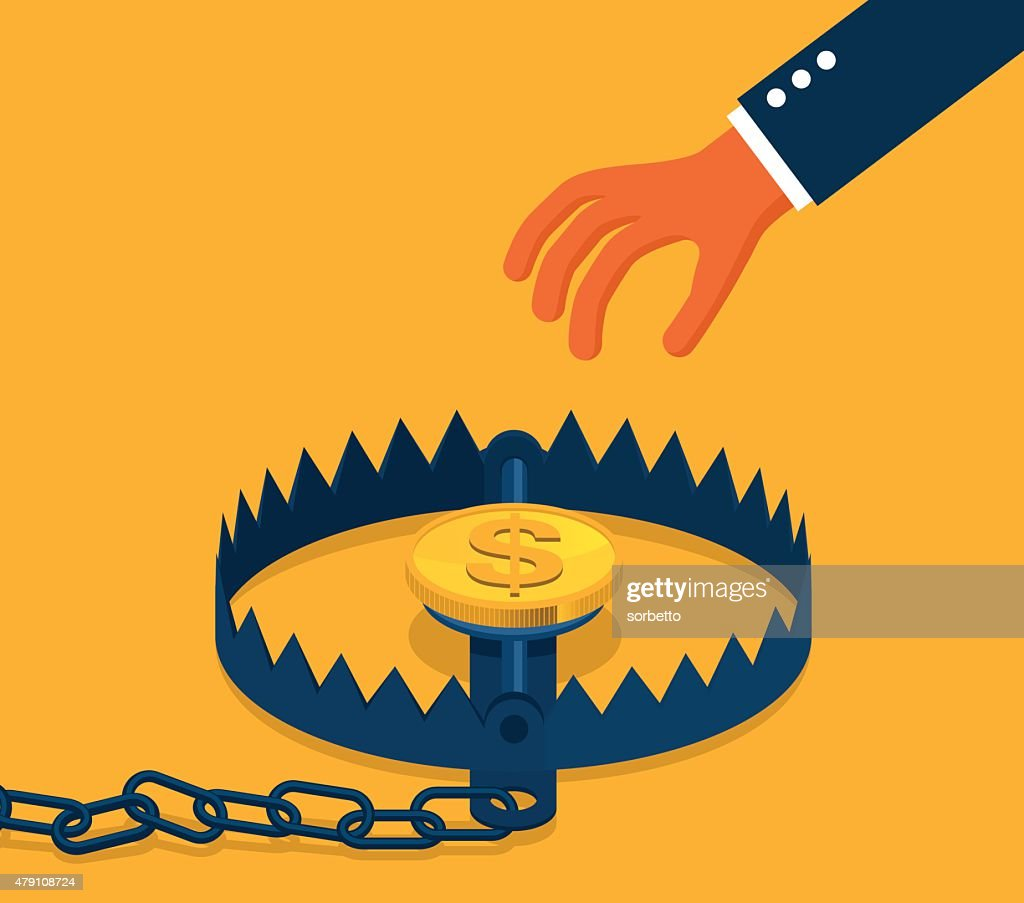 Business trap with hand and coin