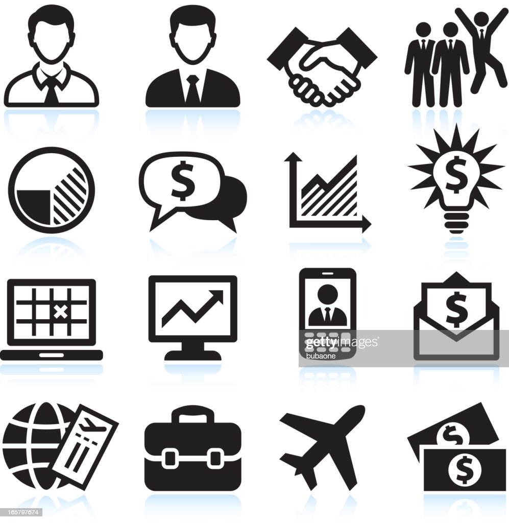Business Travel and corporate presentation black & white icon set