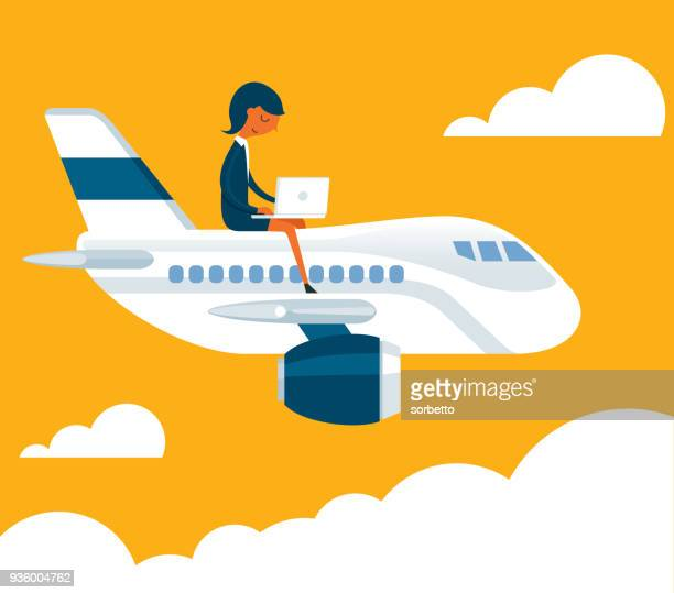 business travel - businesswoman - air travel stock illustrations, clip art, cartoons, & icons