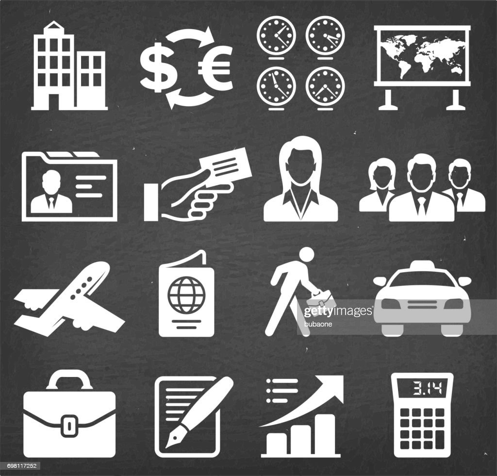 Business Travel chalk board royalty free vector icon set