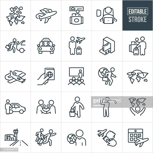 ビジネストラベル細線アイコン - 編集可能ストローク - ファーストクラス点のイラスト素材/クリップアート素材/マンガ素材/アイコン素材