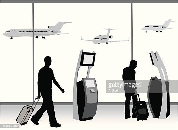 Business Travel Vector Silhouette