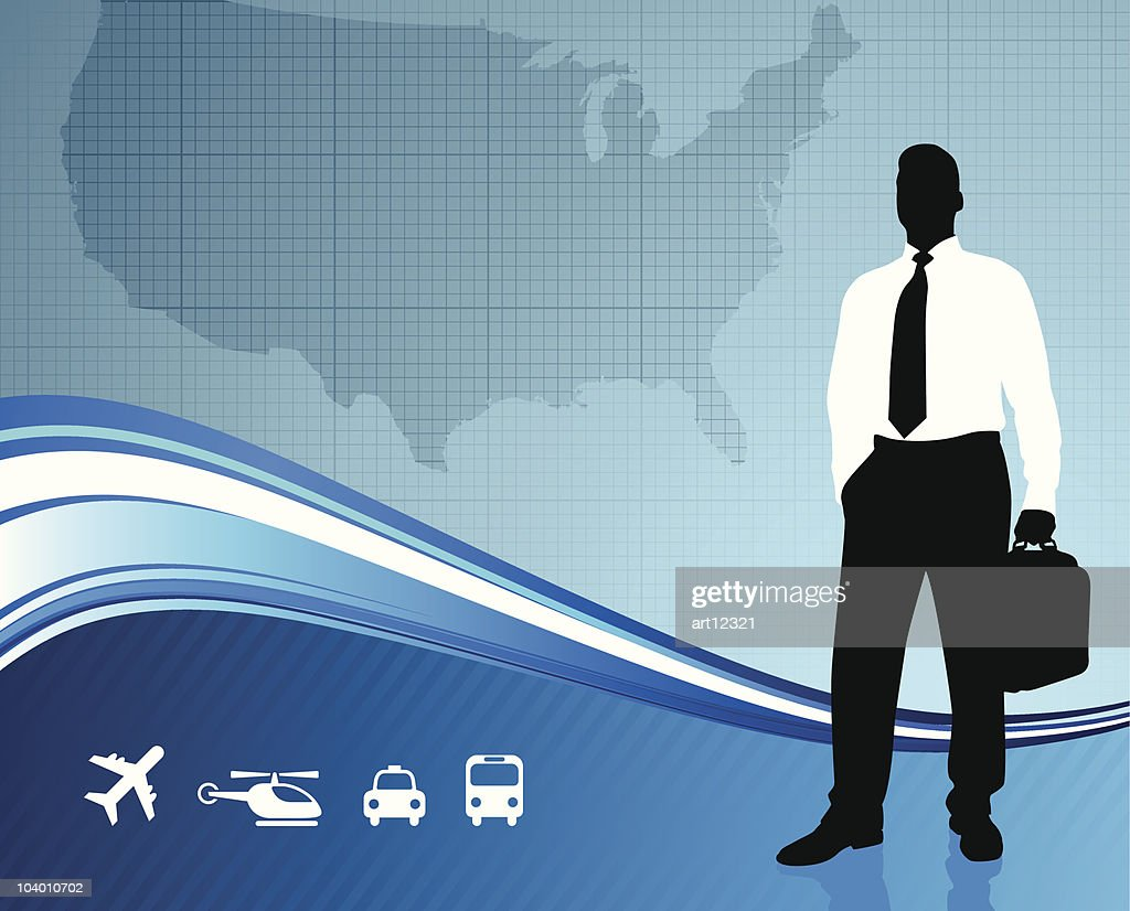 Business traveler on US map background