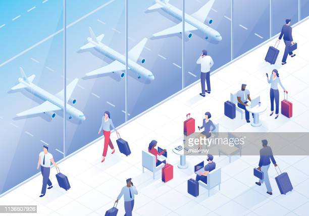 business travelers in airport lounge - business travel stock illustrations, clip art, cartoons, & icons