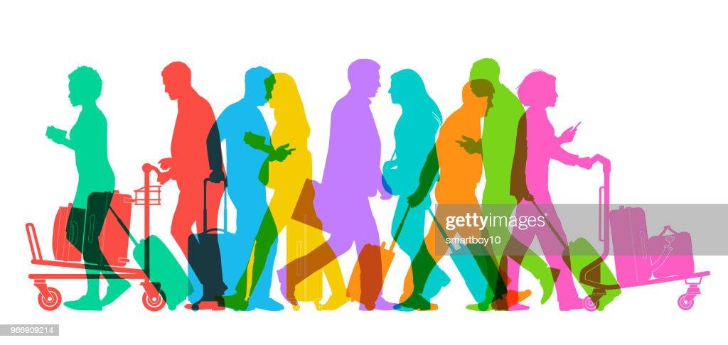 Viajeros de negocios en el aeropuerto : Ilustración de stock