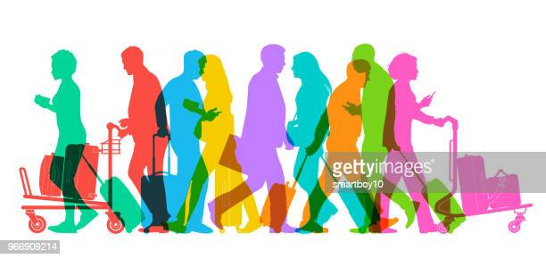 business travellers in airport - business travel stock illustrations, clip art, cartoons, & icons