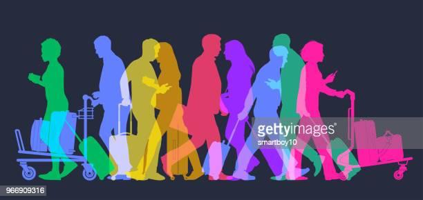 ilustraciones, imágenes clip art, dibujos animados e iconos de stock de viajeros de negocios en el aeropuerto - maleta