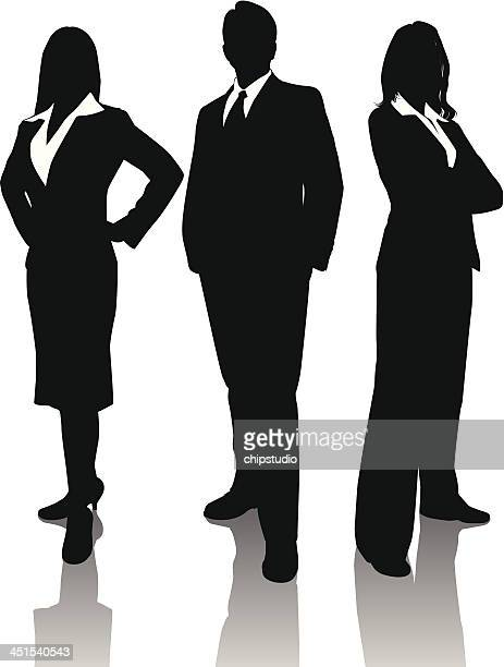 business trio - three people stock illustrations