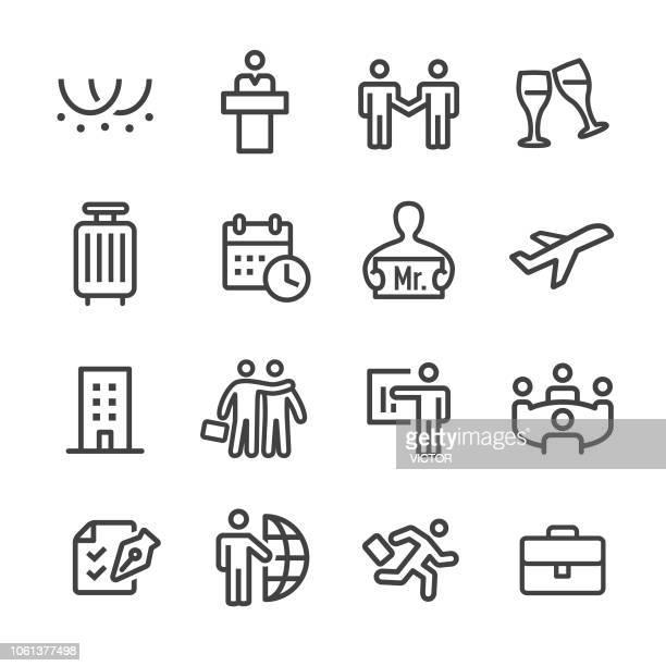 business trip icons - line serie - aktentasche stock-grafiken, -clipart, -cartoons und -symbole