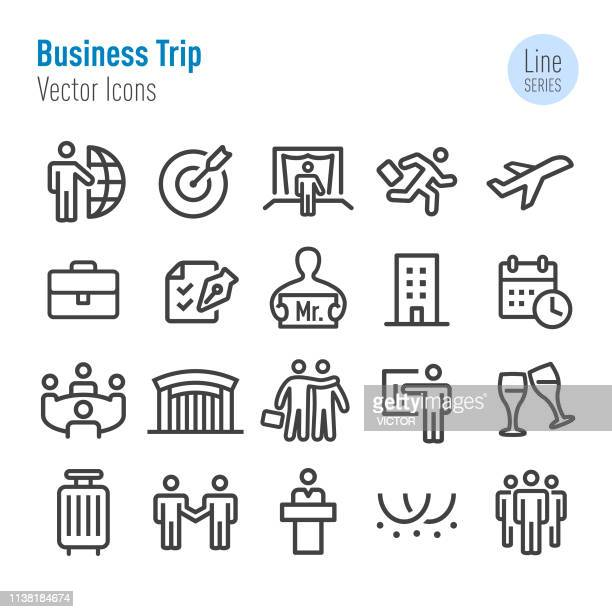 business trip icons - vector line series - visit stock illustrations