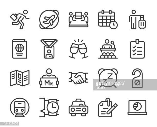 business trip - line icons - hotel reception stock illustrations, clip art, cartoons, & icons