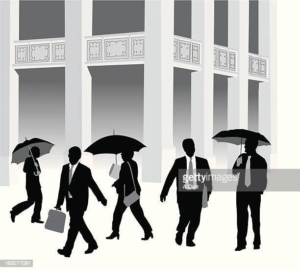 Business Umbrellas Vector Silhouette