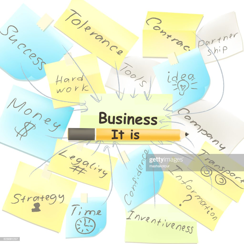 Business vector background with note papers components of busine