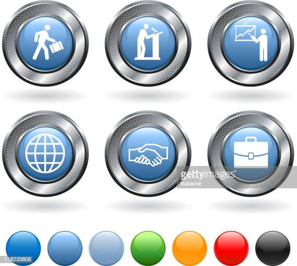Business vector icon set on buttons with metallic border