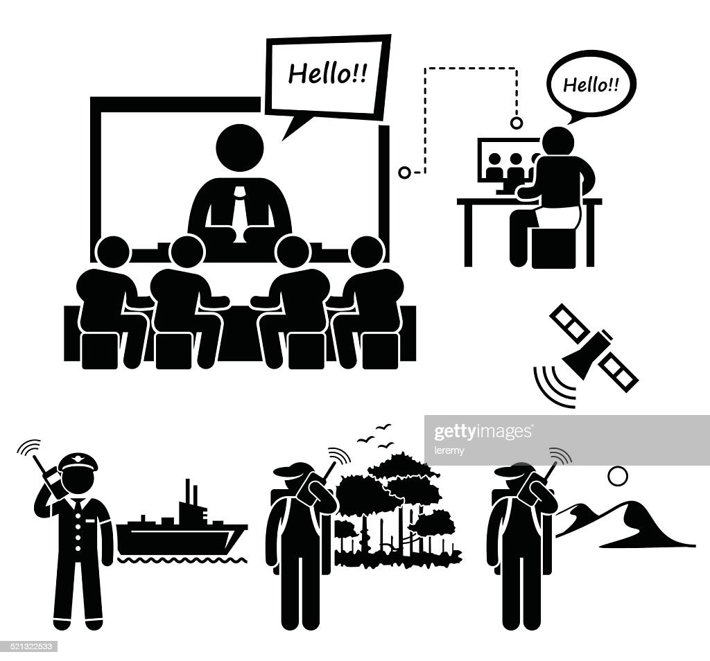Business Video Conferencing and Man Using Satellite Phone