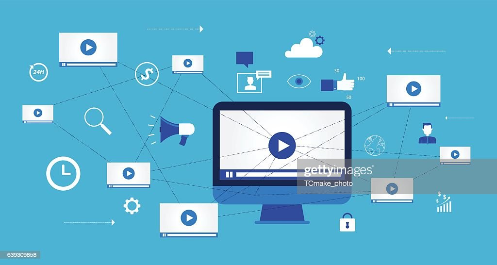 business video marketing content online concept : stock illustration