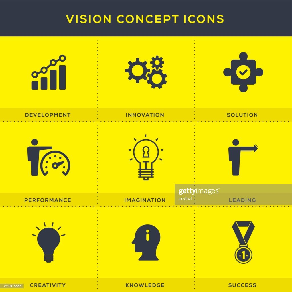 Business Vision Concept Icons Set : stock illustration