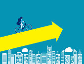 Business with growth. Concept business vector illustration, Bicycle, Startup, Success.