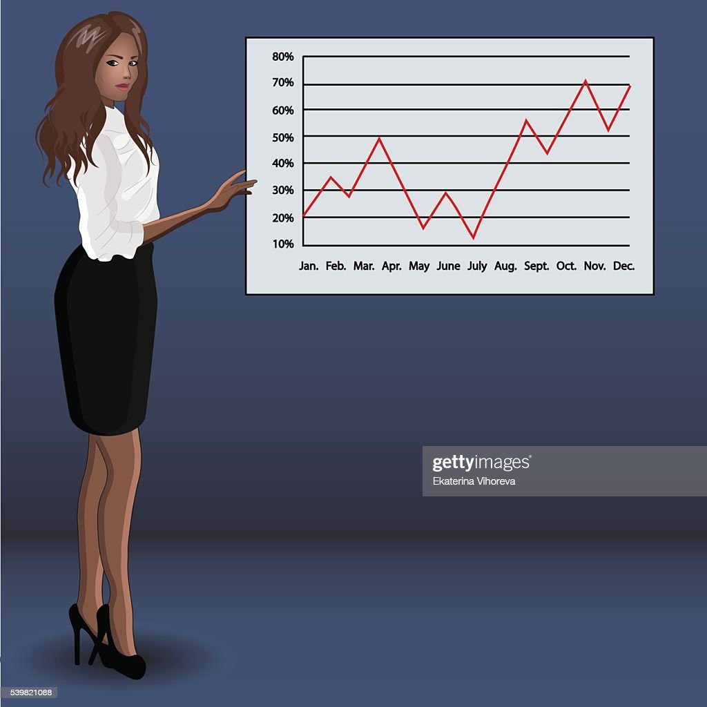 Business woman about diagram