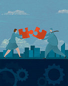 Business woman and man teamwork concept with puzzle piece