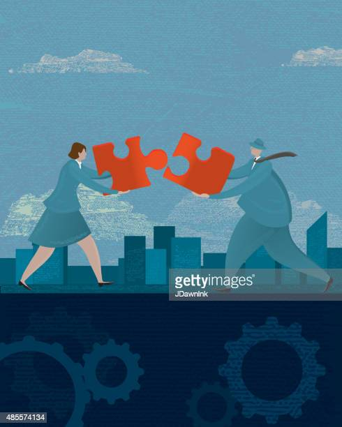 business woman and man teamwork concept with puzzle piece - editorial stock illustrations