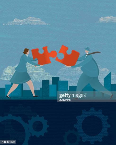 ilustrações, clipart, desenhos animados e ícones de homem mulher de negócios e o conceito de trabalho em equipe e peça de quebra-cabeça - editorial
