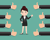 Business woman and many hands with thumbs up , Likes and positive feedback concept - vector illustration