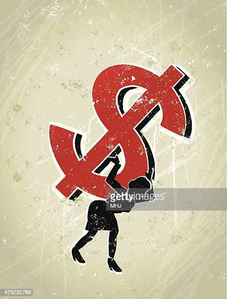 business woman carrying a giant dollar sign on her back - bending over stock illustrations, clip art, cartoons, & icons
