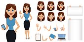 Business woman cartoon character creation set. Cute brunette businesswoman in smart casual clothes, blue style.