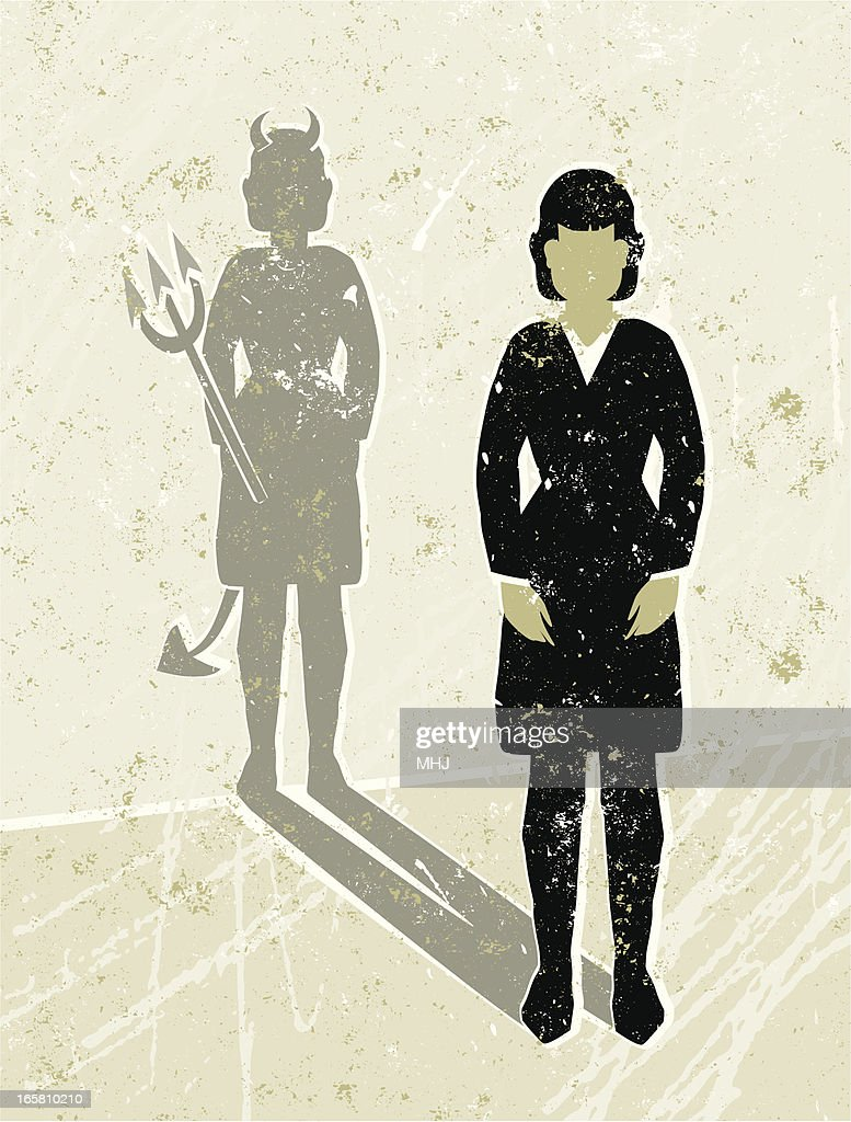 Business Woman Casting a Devil Shaped Shadow : stock illustration