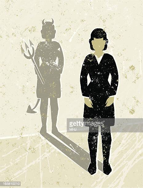business woman casting a devil shaped shadow - office politics stock illustrations, clip art, cartoons, & icons