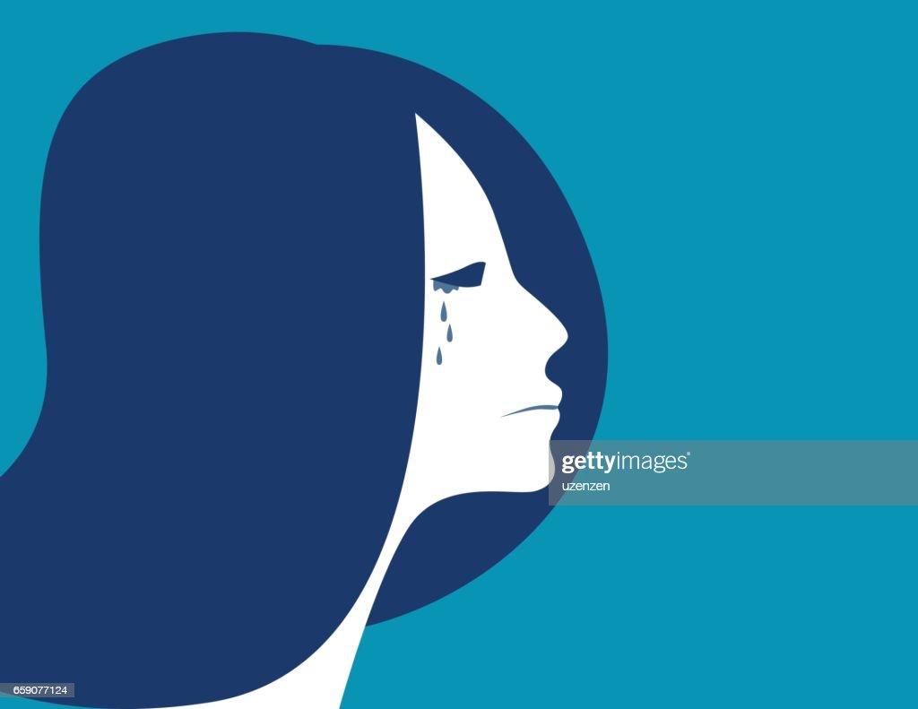 Business woman crying, depressed woman, Concept woman character illustration. vector flat