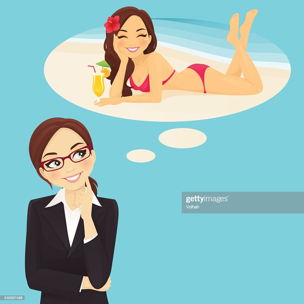 Business woman dreaming about vacation