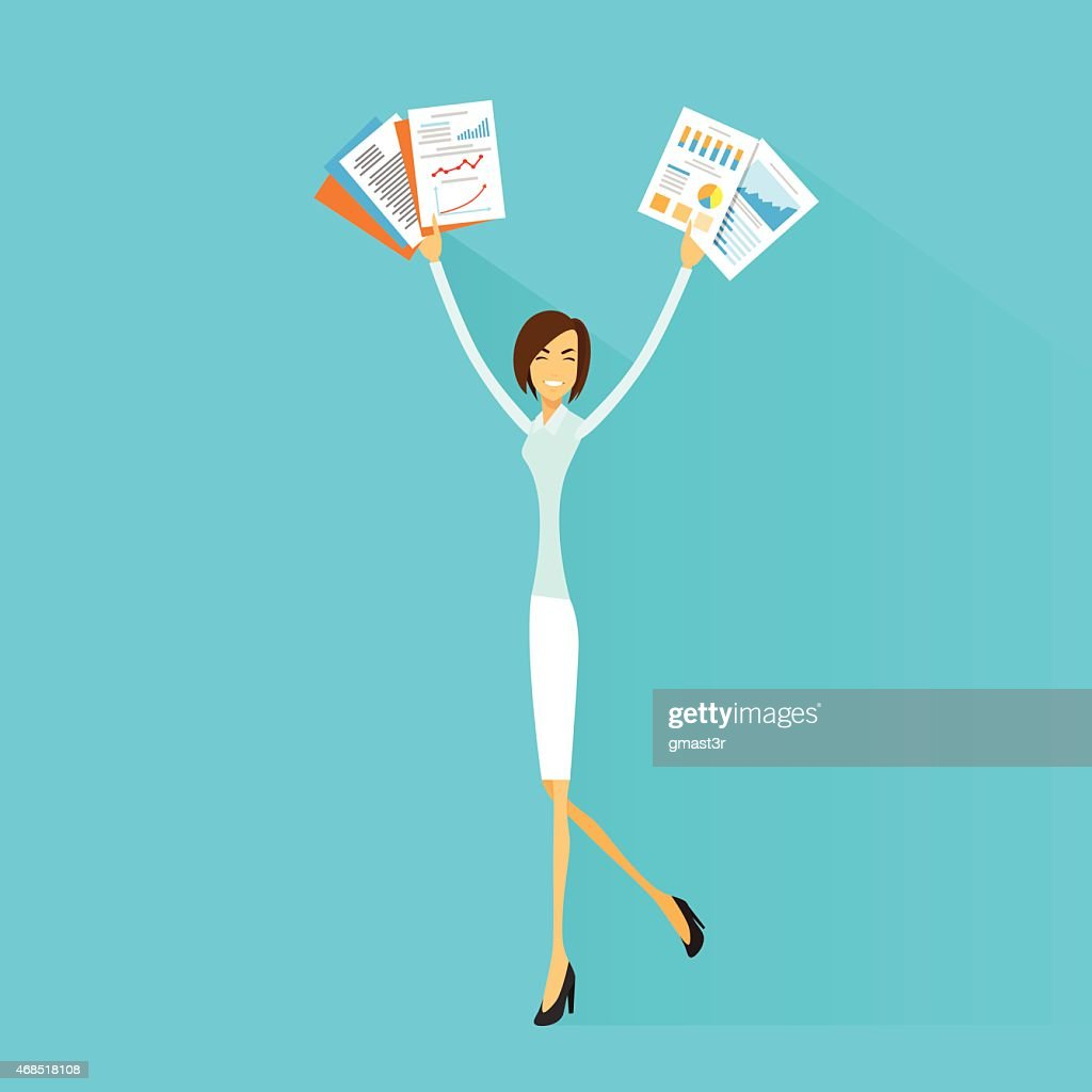 Business Woman Excited Hold Hands up with Documents, Smile Vector