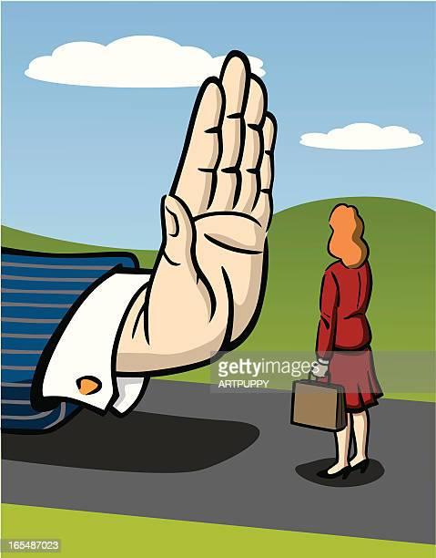 business woman facing sexism - prejudice stock illustrations, clip art, cartoons, & icons