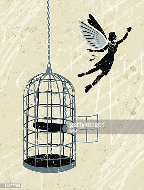 business woman flying free from bird cage - cage stock illustrations, clip art, cartoons, & icons