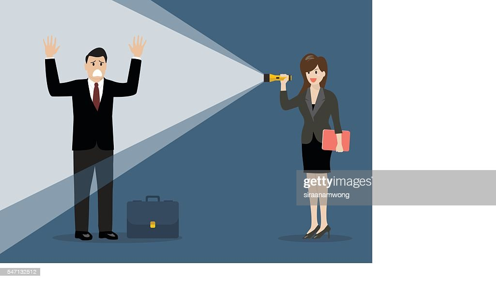 Business woman holding flashlight glow to businessman